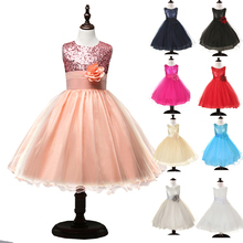 Girl Child Lovely Princess Party Pageant Birthday Wedding Paillette Flower Graceful Sparkly Dress