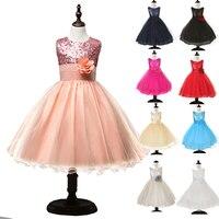 Kız Çocuk Güzel Prenses Parti Pageant Doğum Günü Düğün Madeni Pul Çiçek Zarif Sparkly Elbise