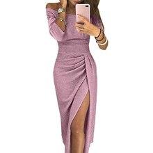 Women Fashion Long Sleeve Off Shoulder Party Dress High Slit Peplum Dresses Autumn Elegant Bodycon Vestido