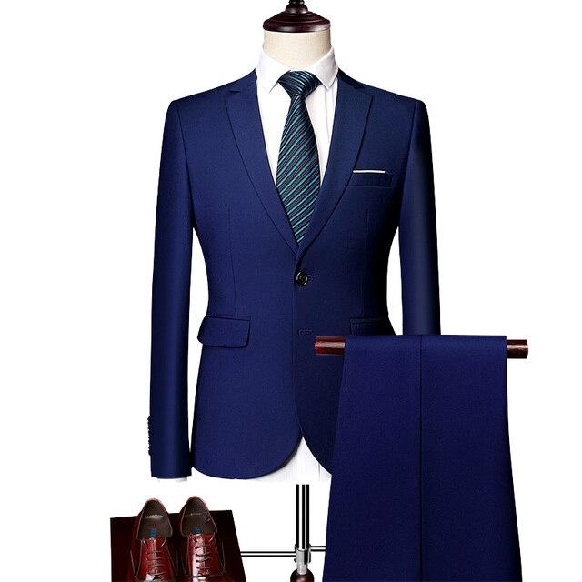 (Blazers Pants Vest Sets)MOGU 2019 New Fashion Groom Wedding Dress Suits Two Buttton Plus Size 5XL Men's Casual 3 Pieces Suit 1