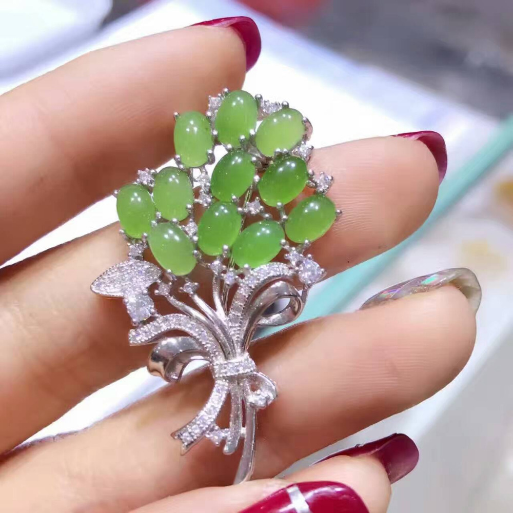 Natural green jasper gem brooch S925 silver Natural gemstone brooch trendy Elegant Flowers women party Office gift fine jewelry elegant artificial gem oval rhinestone leaf floral brooch for women