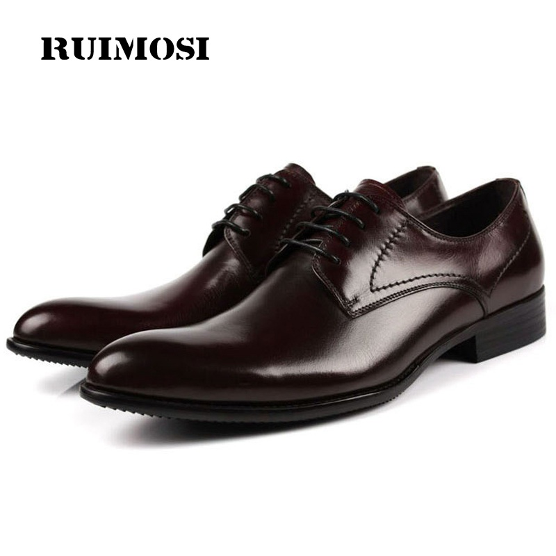 RUIMOSI New Formal Man Elegant Dress Shoes Genuine Leather Designer Oxfords Luxury Brand Round Toe Men's Handmade Footwear FG91