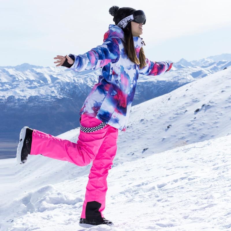 Combinaison de Ski d'hiver femmes marques veste et pantalon de Ski de haute qualité neige chaude imperméable coupe-vent Ski et snowboard costumes