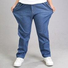 Günlük kot erkek pantolon bahar İnce gevşek pantolon şişman çocuk pamuk mavi Denim uzun pantolon artı boyutu çocuk giyim 9 12 14 16Y