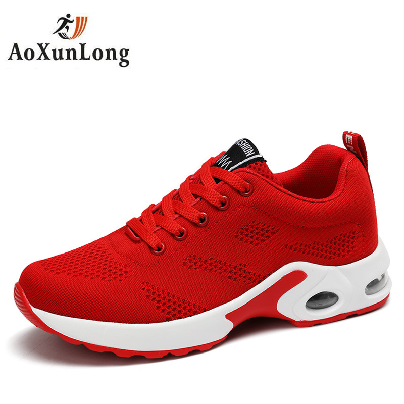 2017 New Brand Pilot Fly knit Shoes for Women Air Mesh Summer Runner Shoes lace up
