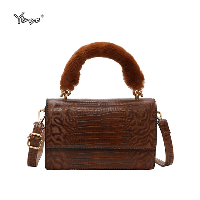 d020c3630c2e Women shoulder messenger crossbody bags joker leisure handbags Plush handle  decoration vintage casual alligator ladies satchel