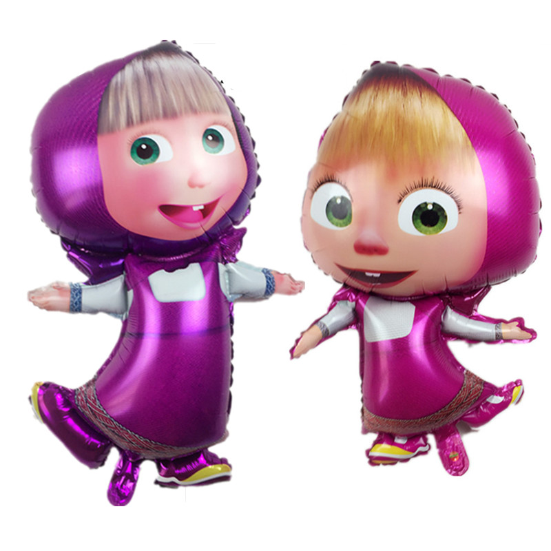 XXPWJ Free shipping  Masha and bear party air balls Cartoon character Foil Ballo