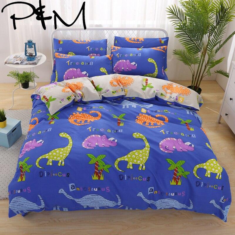 PAPA et MIMA bande dessinée enfants ensemble de literie de coton, roi, reine lits taille housse de couette Dinosaure Rhinocéros motif lit feuille taie d'oreiller