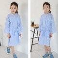 Длинные рубашки платья для девочек 10 11 12 13 14 15 лет девушки одеваются синий полосатый лук девочек-подростков одежда девушки одеваются принцесса