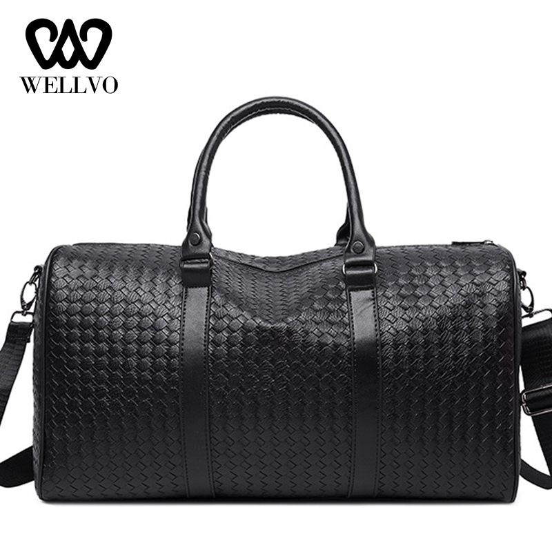 Realistic Fashion Weaving Travel Bag Leather Hand Luggage Bag Men Black Duffle Travelling Bags Womens Weekend Bag Big Tote Voyage Xa717wb Cheap Sales 50% Luggage & Travel Bags