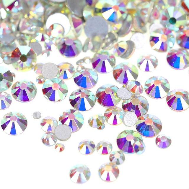 2028 SS3-SS50 זכוכית קריסטל AB ללא תיקון חם Rhinestones קריסטל AB זכוכית Strass גליטר Rhinestones עבור נייל אמנות קישוט B2009