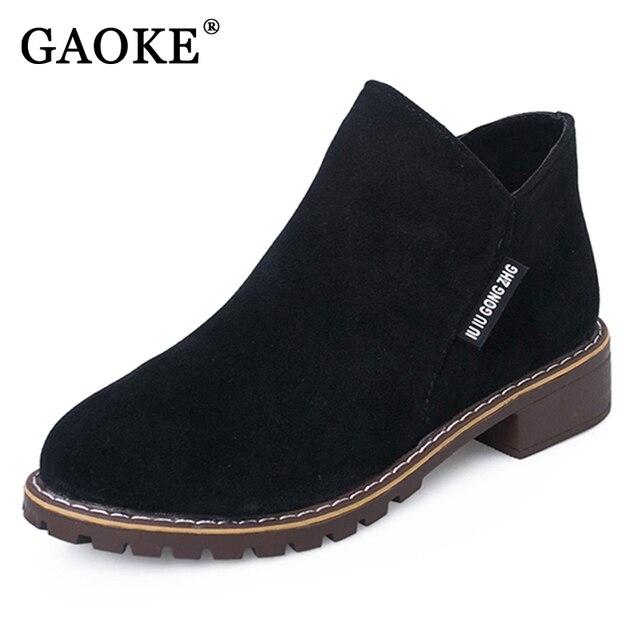 Gaoke новые модные женские туфли Martin Сапоги и ботинки для девочек ботинки осень-зима классический молния Ботильоны песочного цвета теплый плюш женская обувь