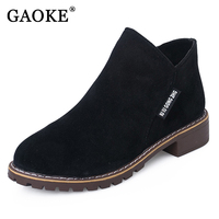 GAOKE New Fashion Women Martin Boots Autumn Winter Boots Classic Zipper Ankle Boots Grind Arenaceous Warm