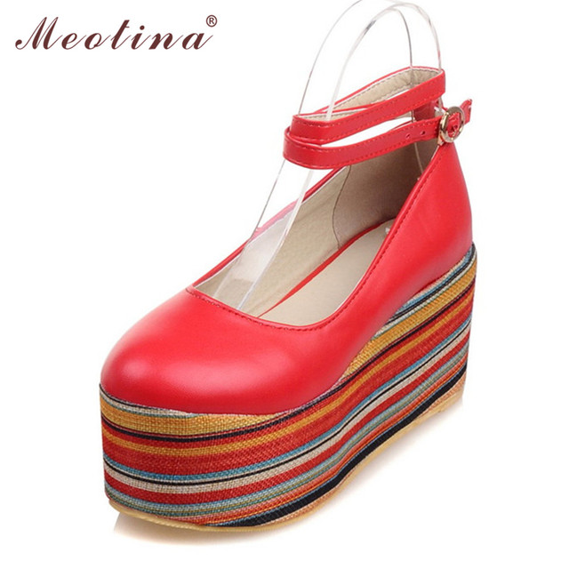 Meotina Shoes Women Wedges Ankle Strap Wedge Heels Platform Shoes Pumps Footwear Punk Lady Shoes White Red Large Size 9 10 40 43