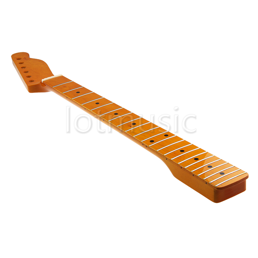 Cou Guitare 22 Frettes Fret Maple Touche Pour Électrique Guitare D'érable Cou Pièces De Rechange Noir Dot Classique Jaune Finition