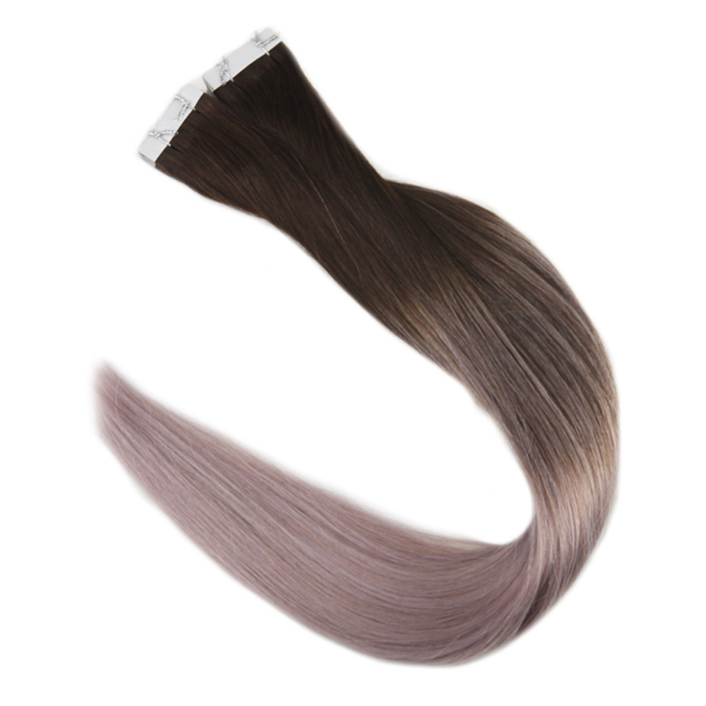 Full Shine 100% Remy Tape In Ombre Hair Color #2 Darkest Brown Fading To Gray 40 Pcs Per Pack Adhesive Tape In Hair Extensions