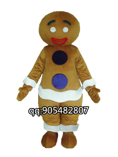 Costume de mascotte pour homme en pain d'épice pour adulte nouveau noël