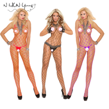 Sexy Lingerie Hot Bodysuit Fishnet Stockings Intimates Women Bodystocking Plus Size Open Crotch Sex Erotic Body Porno qq308