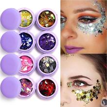 Yfashion 1 Box/8 Boxes Glitter Eyeshadow Festival Makeup Shimmer Face Jewels Pigment Body Eye Sequin Paillettes