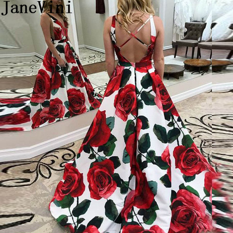 Bright Janevini Floral Vestidos Prom Dresses 2019 Long V-neck Cross Back Flowers Formal Gown Satin Sleeveless Ladies Party Gala Dress