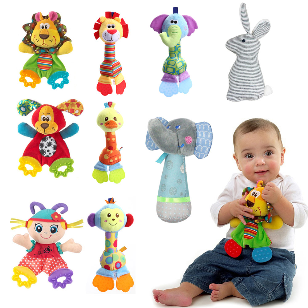 1PC Newborn Baby Hand Bells Rattles Toys Kids Soft Cute Cartoon Animals Playmate Plush Doll Toys Kids Newborns Stuffed Dolls