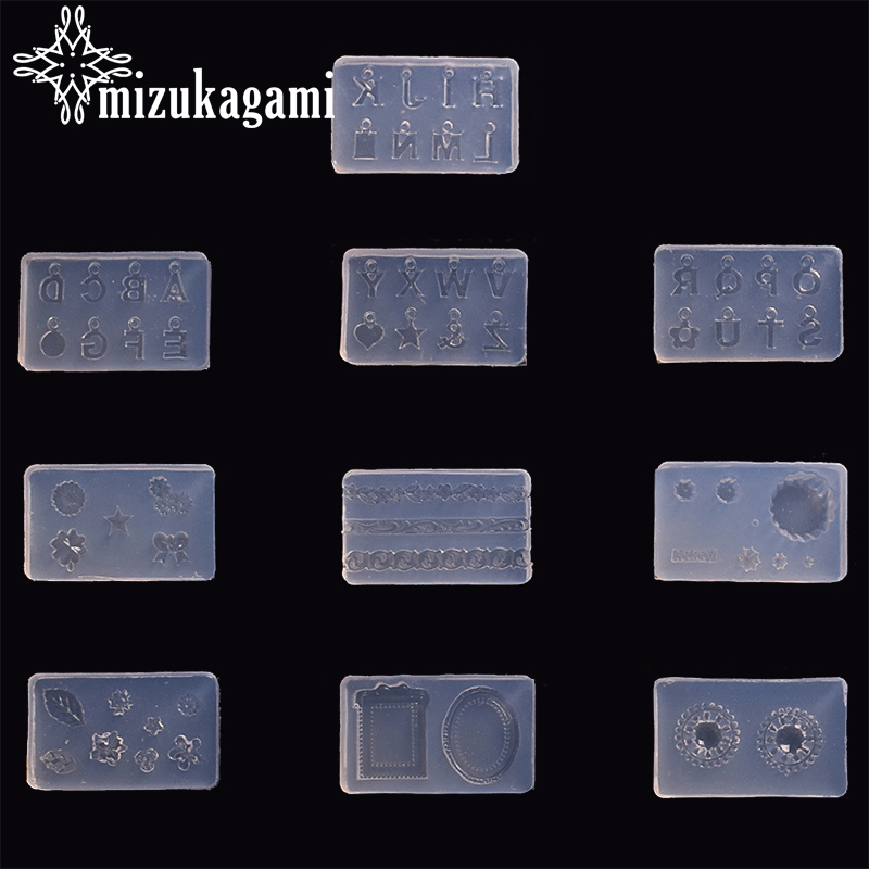 1pcs UV Resin Jewelry Liquid Silicone Mold Plant English Letter Pendant Molds For DIY Making Jewelry Nail Art Mold