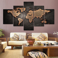 5 Pcs Set Fashion Abstract Wall Art Painting World Map Cuadros Modern Canvas Painting For Living