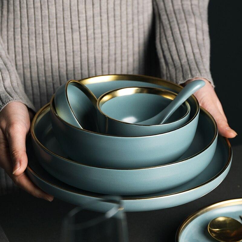 Blue Golden Ceramic Plates 5