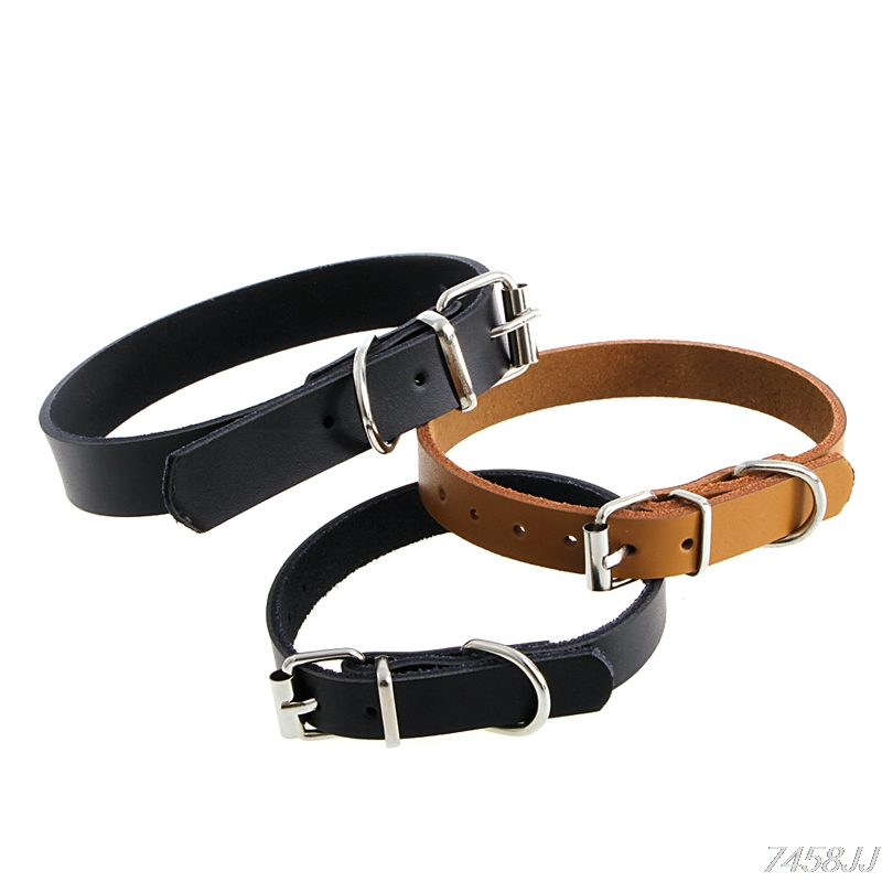 Cow Leather Pet Dog Cat Puppy Collar Neck Buckle Adjustable Gift G03 Drop ship