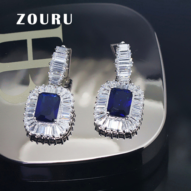 ZOURU Brand Quality Fashion White Gold Plated Big AAA Saphire Cubic Zirconia Stone Stud Blue Earring For Women  Femme Bijoux