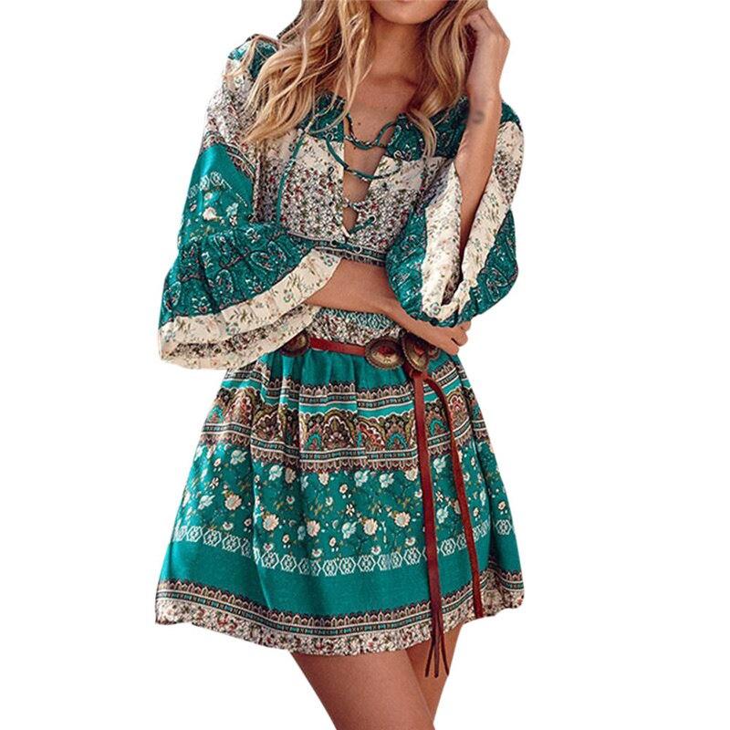 snowshine YLI Women Floral Print Three Quarter Sleeve Boho Dress Ladies Evening Party Dress free shipping