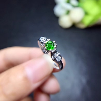 Natural green diopside gem Ring S925 silver natural gemstone ring Beautiful Lovely circle geometry woman gift party jewelry