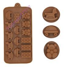 Trojan horse car bear modelling chocolate ice lattice mold food grade silicone mould aking mold sugar giant head style silicone 9 lattice ice mold grey