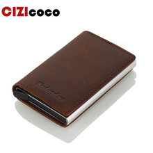 Crazy Horse Leather Card Holder RFID Men Genuine Leather Credit Card Holder Business ID Card Holders Mini Card Wallet 3 Colours rfid 36 card slots genuine leather women card holders large capacity credit card holder wallet female business card holders bag
