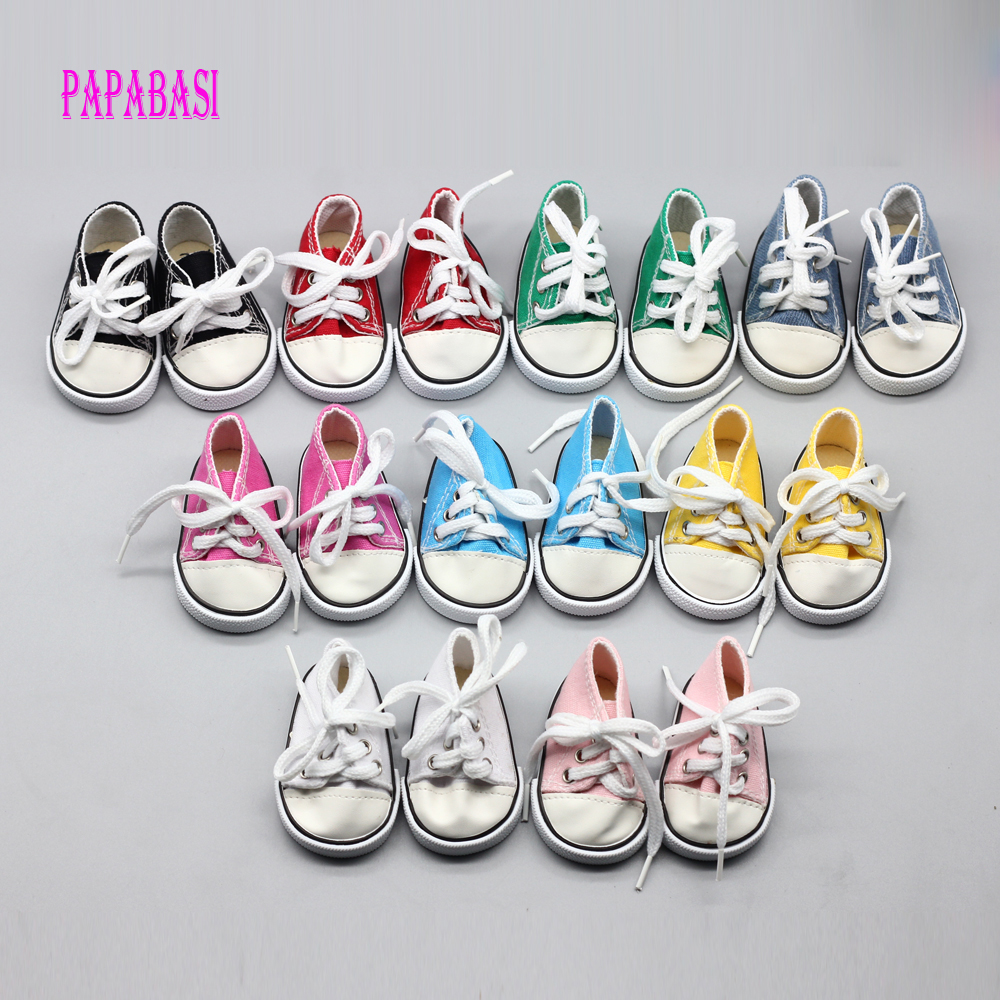 1pari Cute Doll Shoes For 18 Inch Baby Born Doll Handmade Sneakers American Girl doll Accessories Denim Canvas Mini Toy Shoes