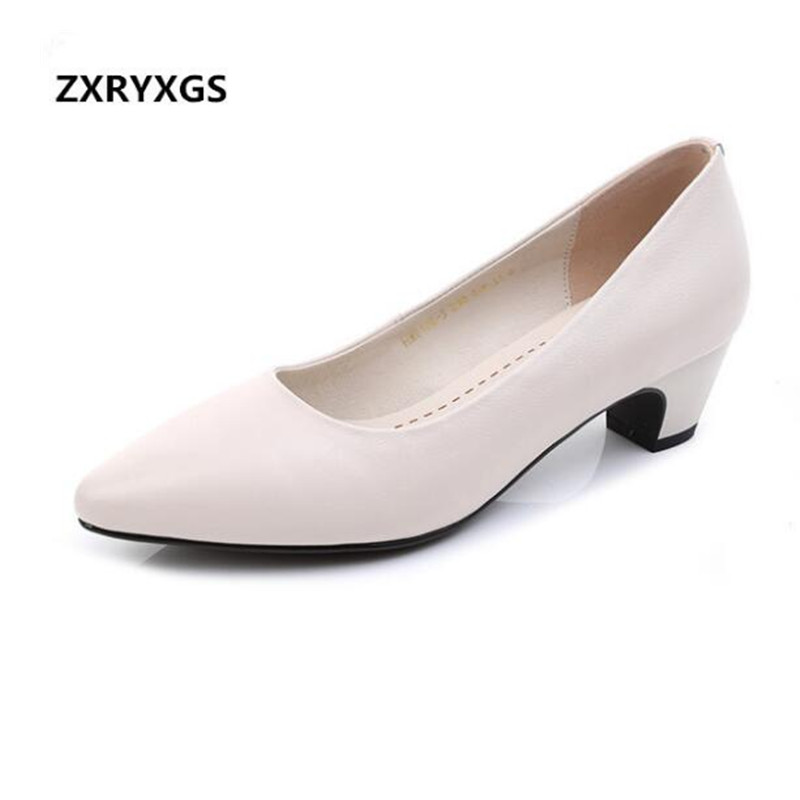 2019 New Spring Low-heeled Pointed Genuine Leather Shoes Women Shoes Professional Stewardess Fashion Casual Shoes Black Beige