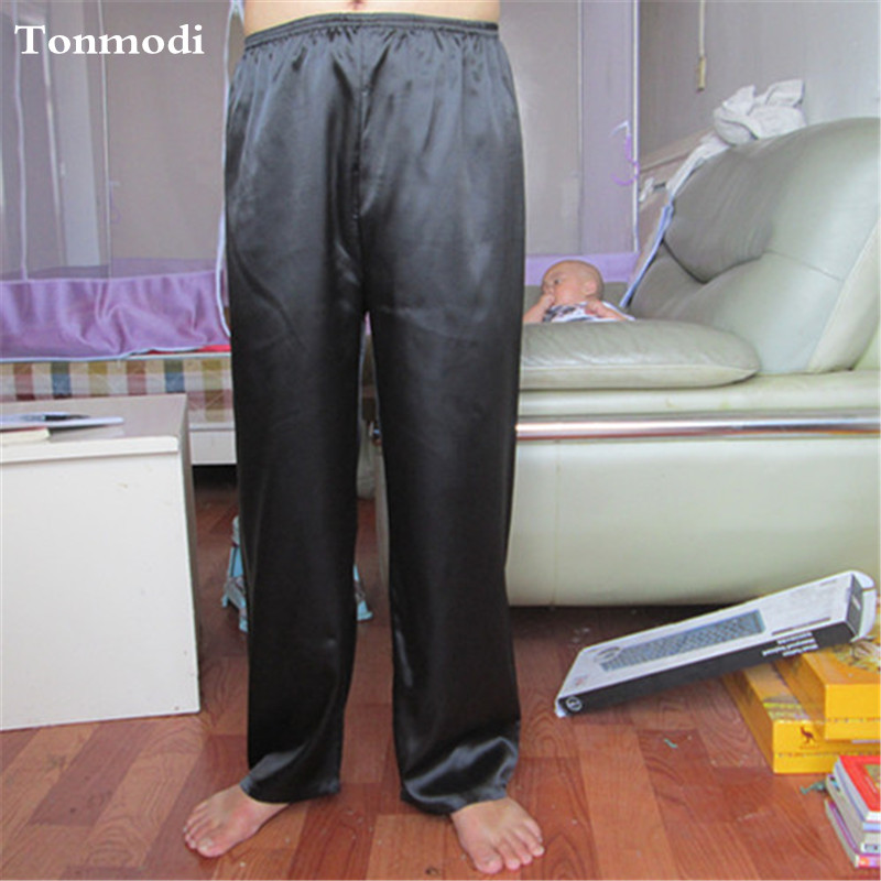 Silk Pajama Trousers Men Spring And Autumn Men Lounge Sleep Pants Leisure Comfortable Sleep Bottoms 9Colors