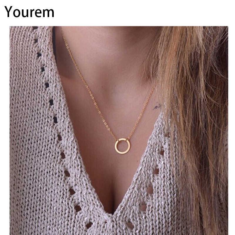 YOUREM okrągły koło geometryczne chokers naszyjniki dla kobiet biżuteria krótki łańcuszek ze stopu niklu złoty kolor wj011