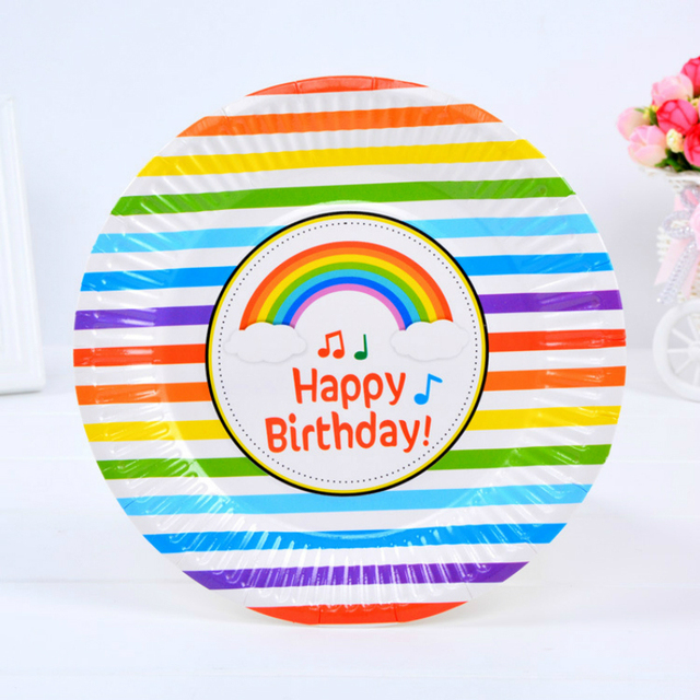 6pcs/pack 7inch Cute Rainbow Disposable Plates High Quality Paperboard Plate Event Children Birthday Party  sc 1 st  AliExpress.com & 6pcs/pack 7inch Cute Rainbow Disposable Plates High Quality ...
