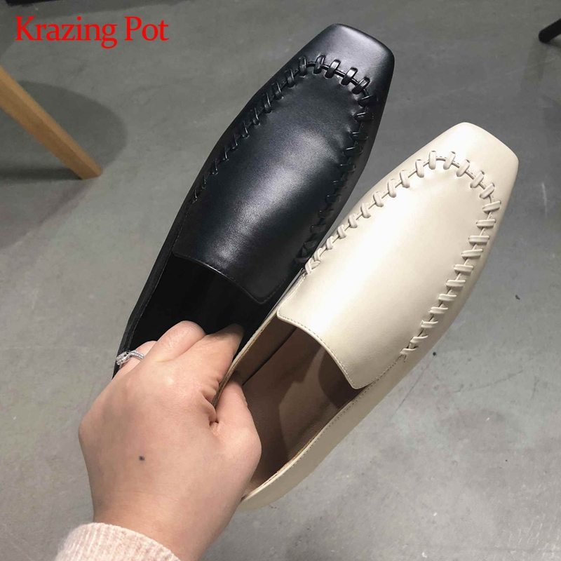 Krazing pot 2019 genuine leather slip on square toe comfortable sewing decoration soft sole streetwear casual Summer flats L16-in Women's Flats from Shoes    1