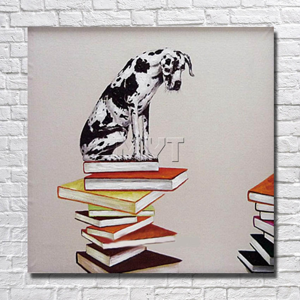 Wall Pictures Wholesale for Sale The Dog on the Books Home Decor Bedroom Decor With Framed Painting Ready to Hang Artwork