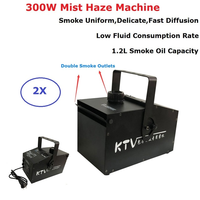 300W Double Outlet Smoke Machine 1.2L Oil Capacity Fog Machine Stage Mist Haze Machine Perfect For Disco Lights Wedding Partys