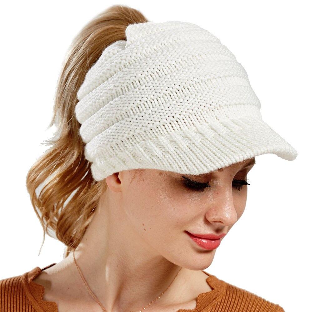 Mode Lässig Frauen Damen Baseball Caps Winter Warme Gestrickte Mütze Hut Häkeln Slouch Baggy Cap Beige Schwarz Rosa