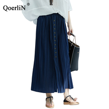 QoerliN Long Skirt Women Elastic Waist Buttons Maxi Skirts Pleated Summer Harajuku Casual Solid Loose Female Large Size