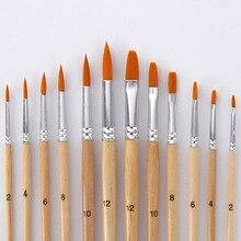 12 шт./лот, кисти для рисования, разные размеры, лог цвета, нейлоновые кисти для живописи маслом, набор для акварельных акриловых рисунков, художественные принадлежности