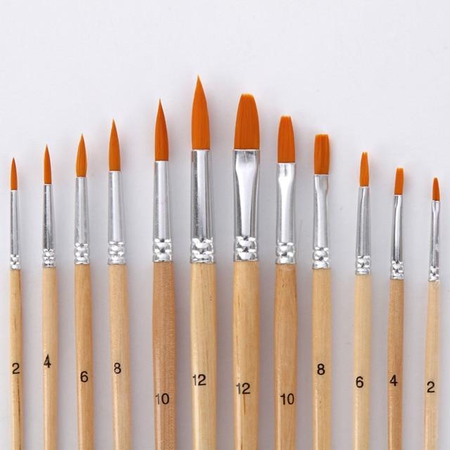 12 unids/lote cepillo de pintura diferente tamaño de registro de color de pelo de Nylon aceite pinceles de pintura de acuarela acrílico arte dibujo suministrar