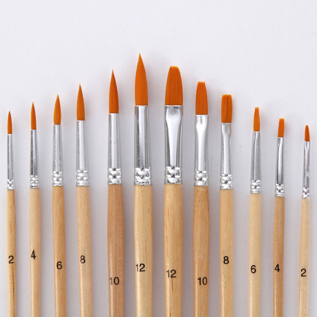 12Pcs/Lot Paint Brush Different Size Log color Nylon Hair Oil Painting Brushes Set for Watercolor Acrylic Drawing Art Supplie