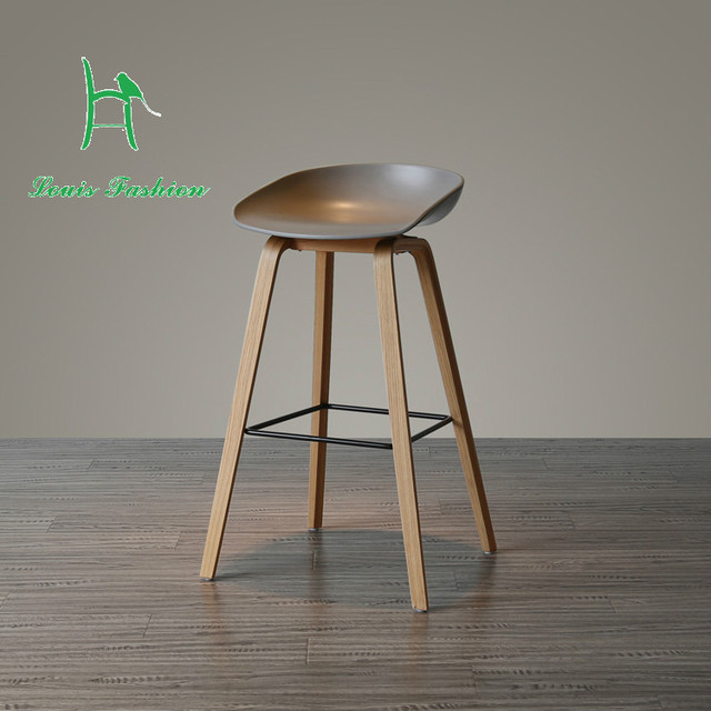 Contemporary and contracted northern wind fashion creative personality in Denmark chair stool designer solid wood PP bar chair