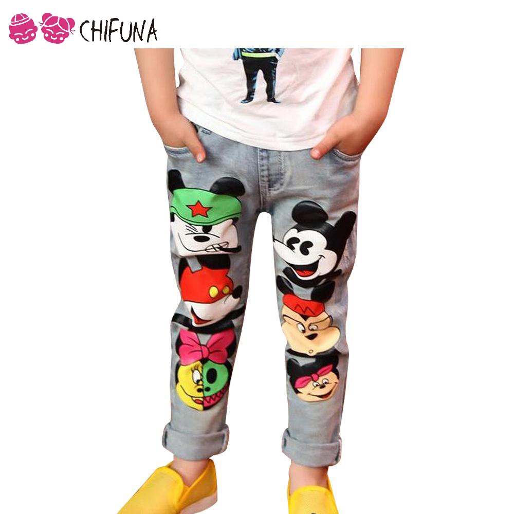 3-12Y Children Pants Girls Jeans Spring Baby Girl Cartoon Mouse Jeans Trousers Fashion Children Clothing Jeans Girls Kids Jeans