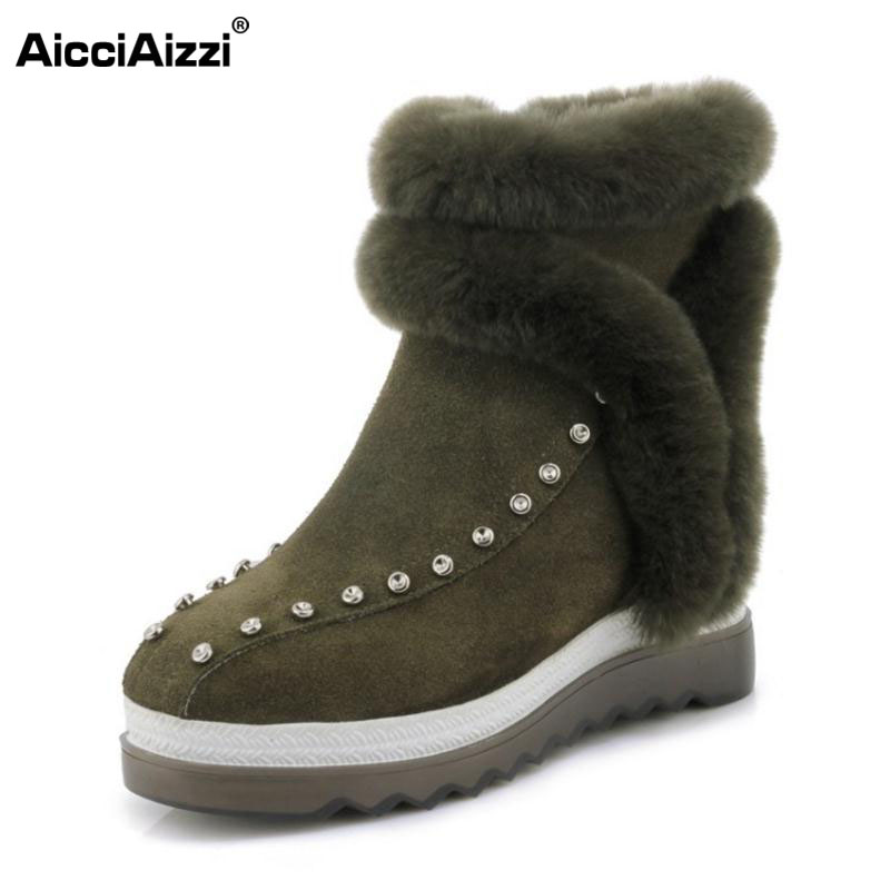 AicciAizzi Cold Winter Real Leather Snow Boots With Thick Fur Inside Women Rivets Platform Shoes Women Mid Calf Botas Size 34-39 trendy women s mid calf boots with solid color and metal rivets design